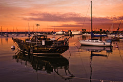 All Quiet! (mojo2u) Tags: california sailboat sunrise bay harbor sandiego sandiegobay nikon28300 nikond700