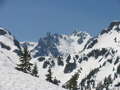 Mt Shuksan appears as we climb above Hannegan Pass