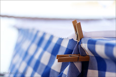 sea breeze (helen sotiriadis) Tags: table tablecloth gingham white blue clothespins pegs clothespegs dof depthoffield bokeh gytheio greece summer sea breeze tavern restaurant canoneos40d canonef50mmf14usm canon macro closeup