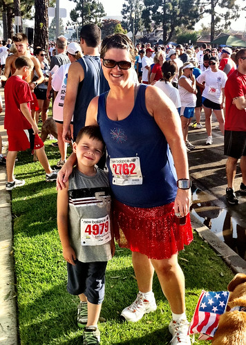 Angry Kid and Angry Julie getting ready to run the Surf City 5K
