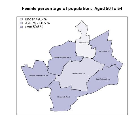 Female percentage of population:  Aged 50 to 54