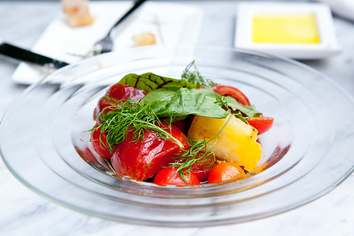 Heirloom Tomato Salad dandelion, Pedro Jimenez sherry vinegar, Mediterranean sea salt