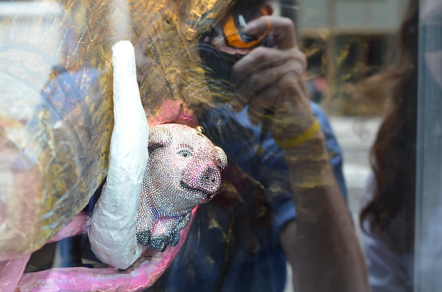 pig head, bergdorf's window, nyc