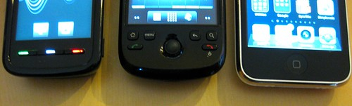Nokia 5800, HTC Magic 32B, iPhone 3GS button bars