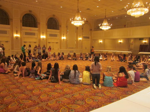 50 regional title holders gather in the ballroom of the Miss Teen Canada World to wait for the others