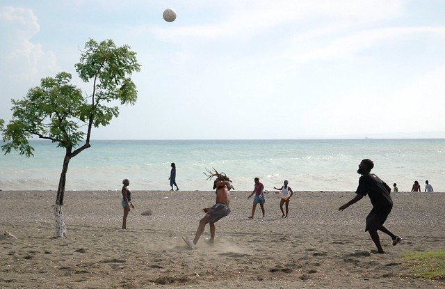 Beach Football Fun - action shot