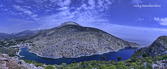 Vathis - Kalymnos (Vicky Tsavdaridou) Tags: travel blue sea vacation sky panorama cloud mountain seascape mountains green nature water clouds photoshop canon geotagged photography countryside photo spring europe day hellas places explore greece hdr topaz kalymnos hellenic efs1022