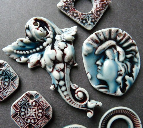 Red and Teal porcelain jewelry components