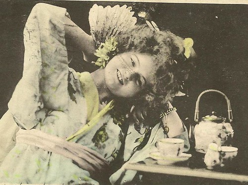 Vintage UDB Postcard Little Geisha at a spot of Tea 1907 ASTORIA Oregon cancel