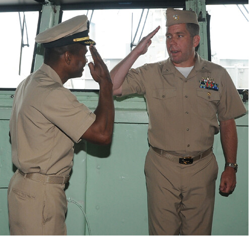 Captain Dale G. Fuller (left) is relieved of Command by Captain Mark T. Sakaguchi (right).