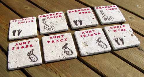 Hand-stamped coasters