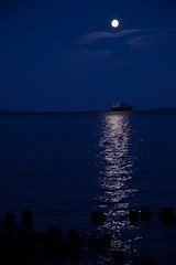 Moonlit freighter (KarenR-TB) Tags: ontario reflection night boat ship fullmoon moonlight lakesuperior thunderbay laker freighter moonbeams