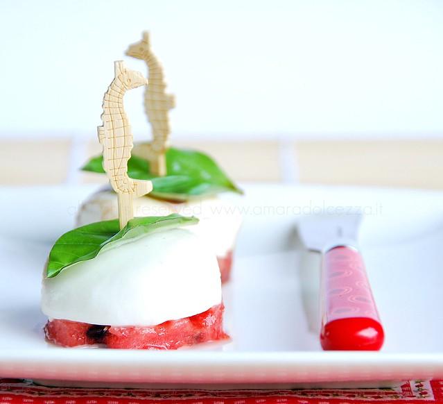 watermelon and mozzarella cheese /anguria e mozzarella