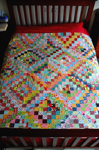 quilt top on bed