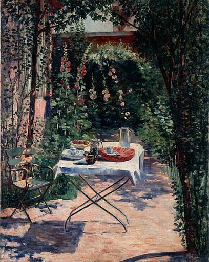 Georgette Agutte, Le café dans le jardin (1er quart 20e siècle)