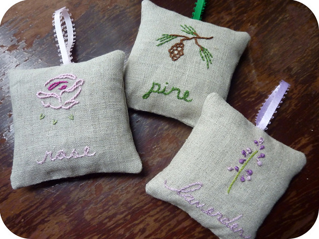 embroidered sachets