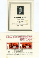 DDR Briefmarken (Tumbalalaika) Tags: ddr gdr rd rdt karlmarxstadt pieck wilhelmpieck 50jahreroteroktober