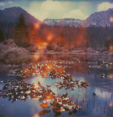 (theonlymagicleftisart) Tags: river landscape polaroid flames laketahoe lightleaks expired timezero baldwinbeach impossibleproject
