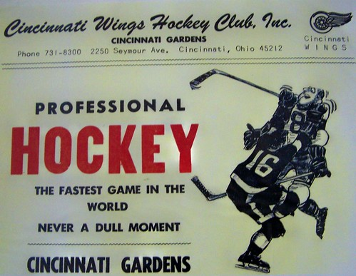 1963-64 CINCINNATI WINGS CPHL Cincinnati Gardens ad sheet
