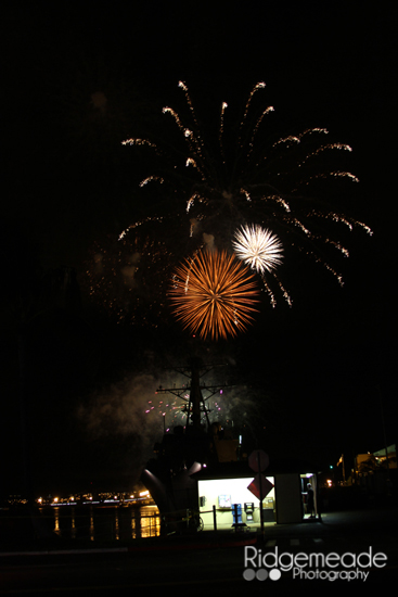 Fireworks over the battleship at Pearl Harbor