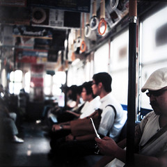 new message (Shuji Moriwaki) Tags: street light tlr students car mobile japan canon table fuji phone box tram passengers  l keitai capture  provia nagasaki automat a620  topcon 400x primoflex