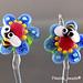 Earring : Blue Bee Flower Blossom
