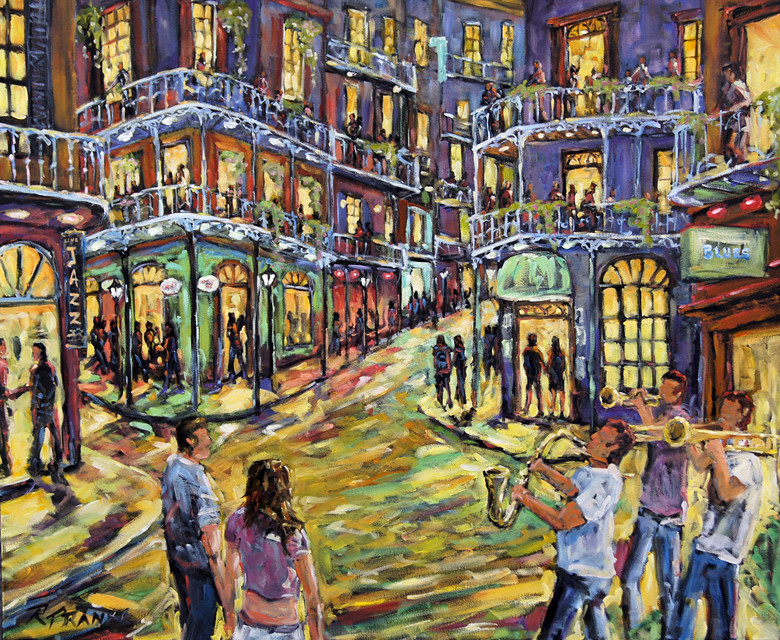 New Orleans Jazz Night by Prankearts Fine Art