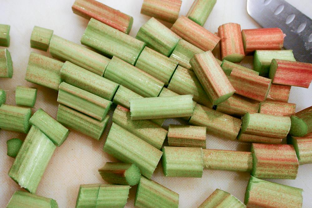 cut up rhubarb stalks