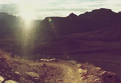 A light to my roadway (Irene Bialas) Tags: road light arizona sun film rocks glare minolta path stones grand canyon dirt flare roadway 7xi lulhon