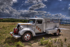 Vintage Firetruck, Fairplay, Colorado (Thad Roan - Bridgepix) Tags: wild flower festival truck landscape fire photo colorado image smoke picture hdr crestedbutte fairplay 201107