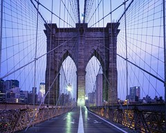 brooklyn bridge walkway at dawn, nyc (andrew c mace) Tags: nyc newyorkcity longexposure morning film analog dawn twilight manhattan walkway brooklynbridge 4x5 monorail provia xl largeformat schneider viewcamera cambo 100f v700 superangulon 72mm epsonv700 colorefex nikoncapturenx 45sf schneider72mmxl