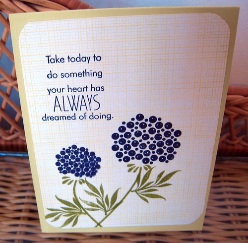 Daydreamer card with stamped background by tworiverssoaps