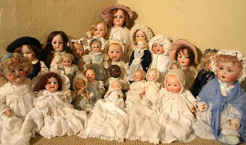 Just a few of the hundreds of porcelain dolls going under the hammer