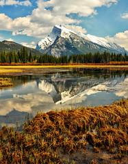 Mount Rundle in the Spring (Jeff Clow) Tags: lake mountains reflection landscape mountrundle albertacanada banffnationalpark