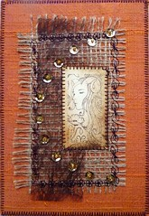 Astro 3 Aries - Belier (Karen Cattoire) Tags: signs colorful handmade embroidery mixedmedia silk stamp creation zodiac fiberart soie tampon beading astrology zodiaque cartepostale broderie astrologie artpostcard zodiacsigns arttextile perlage karencattoire