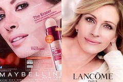 The two photoshoppped makeup ads in questions--one of Julia Roberts and one of Christy Turlington