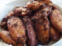 Chicken Wings (blurry picture) Tags: food 50mm rikenon50mmf14 ricohxrrikenonf14