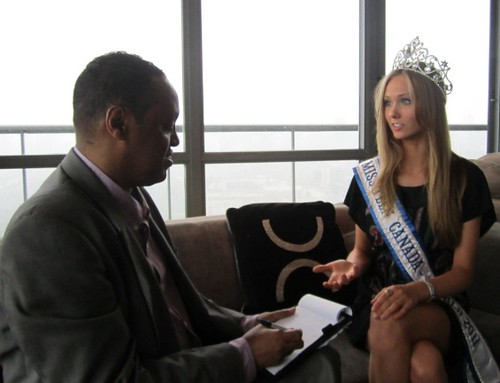 Farid Omar interviews Miss Teen Canada - World, Lauren Howe at The Distillery District  on July 27th 2011