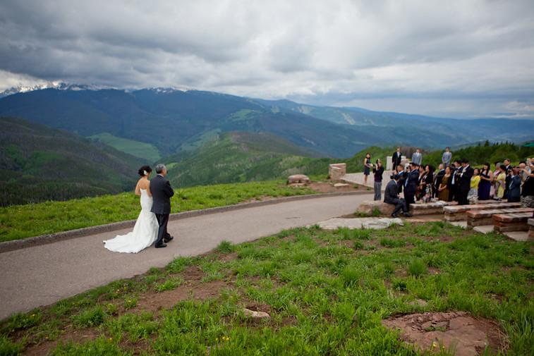 vail wedding deck father bride walking