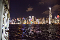 from the ferry (Hlne F) Tags: ferry night landscape hongkong central ifc wanchai royalgarden hongkongbay kowlon
