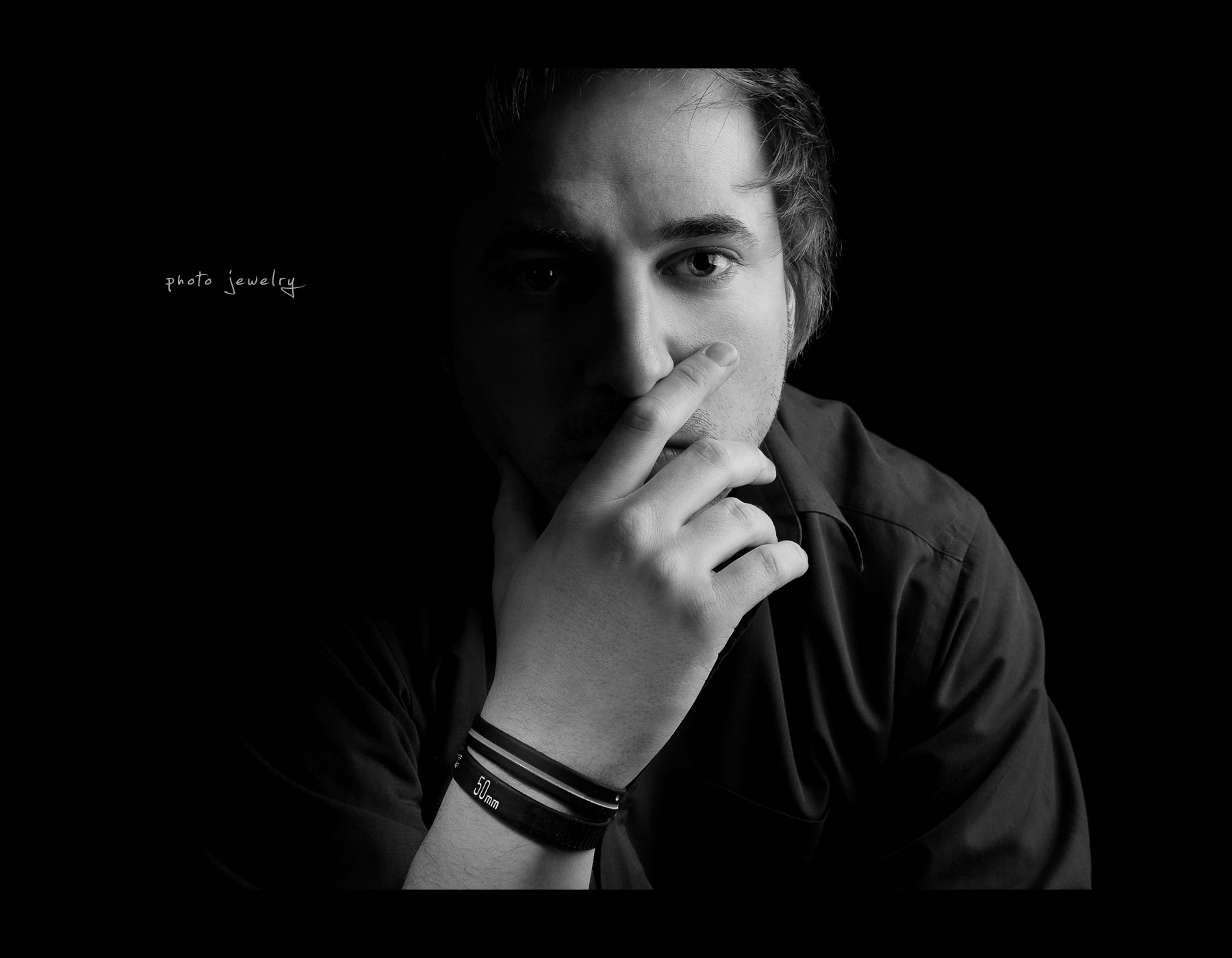 Project 365, Day 359, 359/365, Self Portrait, Strobist, on black, black background, photo jewelry, Lens Bracelet, black and white, B&W, Canon ef 24-70 f2.8,