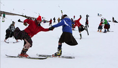 kilted-skiing2 (photo by Andrew Smith) (kilt4142) Tags: scotland kilt wind bare scottish windy highland scot swinging kilts skier scots tartan kilted scotsman upkilt