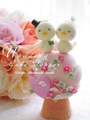 Wedding Cake Topper-love bird with flower tree (charles fukuyama) Tags: tree birdcage birds couple clay swarovski sweetheart lovebird sculpted cakedecoration weddingcaketopper handmadewedding birdscaketopper