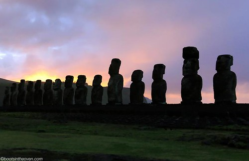 Ahu Tongariki during a misty sunrise