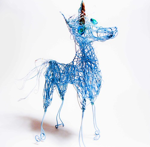 Blue Unicorn Sculpture with Golden Horn by WireArtInk