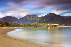 45 Seconds at Hanalei, Kauai (PatrickSmithPhotography) Tags: ocean usa mountain seascape rain landscape hawaii pier sand pacific wind coconut palm kauai hanalei