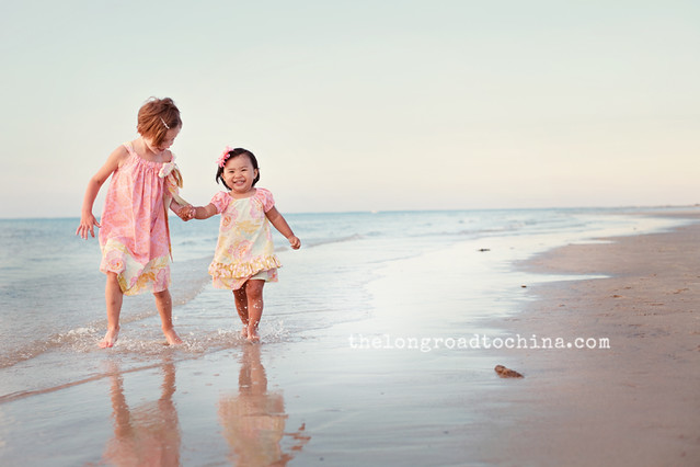 Girls Running Sand Splashing Up BLOG