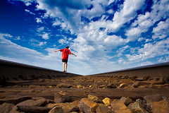 Balance (·tlc∙) Tags: railroad blue boy red sky kansas 1022mm gravel uwa greatphotographers img5651 flickrstruereflection1 flickrstruereflection2 flickrstruereflection3 flickrstruereflection4 flickrstruereflection5