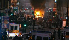 Tottenham in North London exploded after a man was killed by the local police. The people marched on the police station and then took to the streets attacking buses and buildings. by Pan-African News Wire File Photos