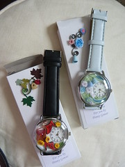 Red yellow shoe & blue white flower watches and boxes (Gregelope) Tags: flowers roses colour beautiful beauty watches handmade craftsmanship papercraft quilling craftwork